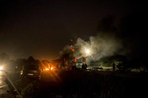 blocage devant le dépôt pétrolier de Douchy-les-Mines.