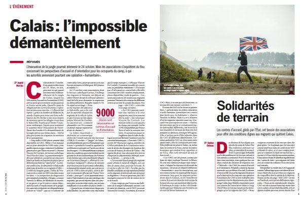 Politis 1424 – 20 au 26 octobre 2016. Photo de la manifestation interdit à Calais le 1er octobre